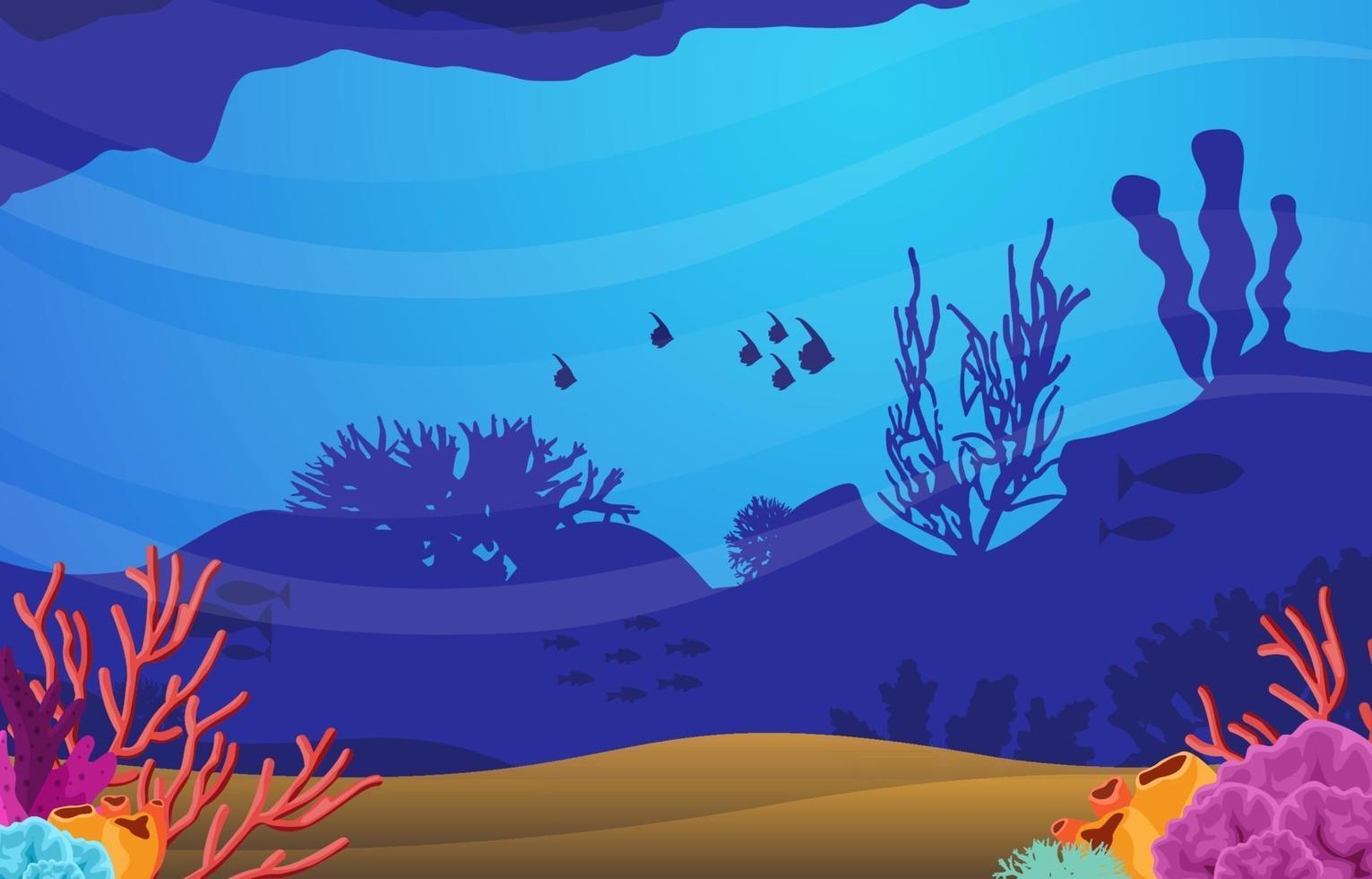 scena subacquea con illustrazione di pesce e barriera corallina vettore