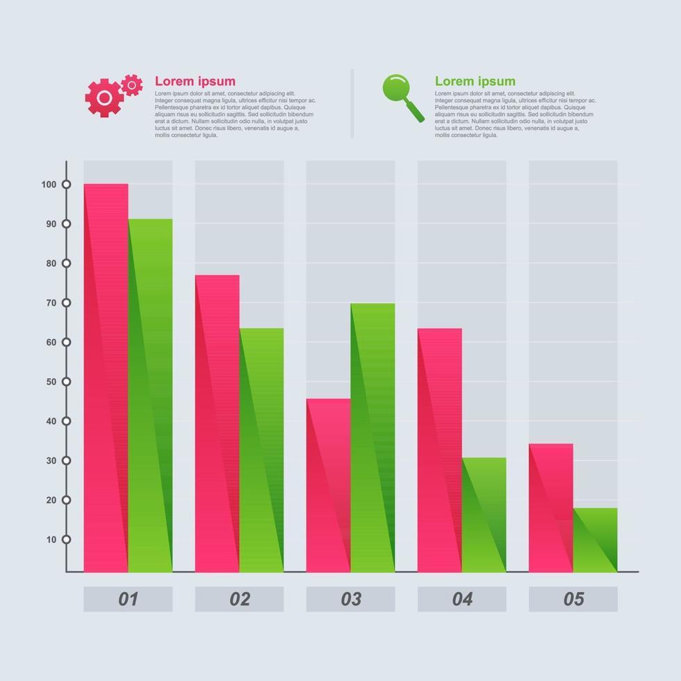 grafico a barre decrescente che illustra la pressione economica o un'infografica di problemi finanziari vettore