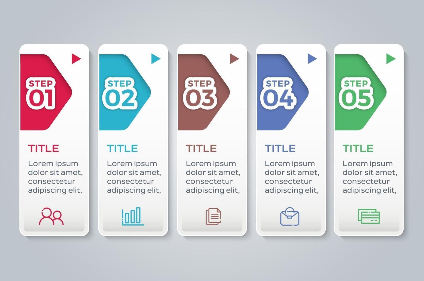 modello di presentazione aziendale infografica con 5 opzioni vettore