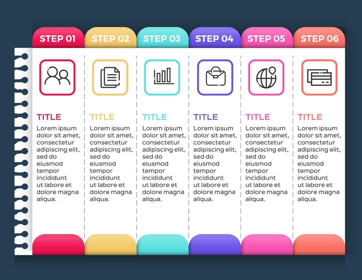 infografiche aziendali. timeline con 6 passaggi o opzioni vettore