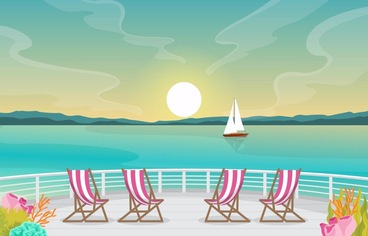 ponte della nave da crociera con alba e illustrazione dell'orizzonte dell'oceano vettore