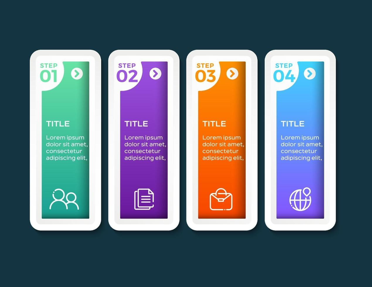 modello di presentazione aziendale infografica con 4 opzioni vettore