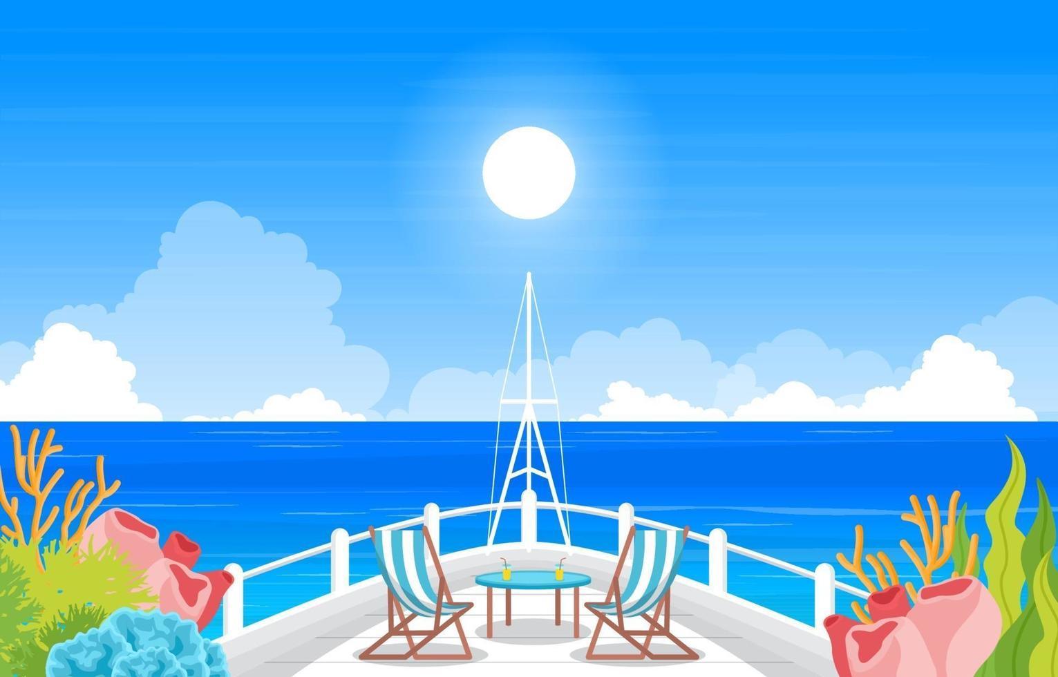ponte della nave da crociera con l'illustrazione dell'orizzonte dell'oceano vettore