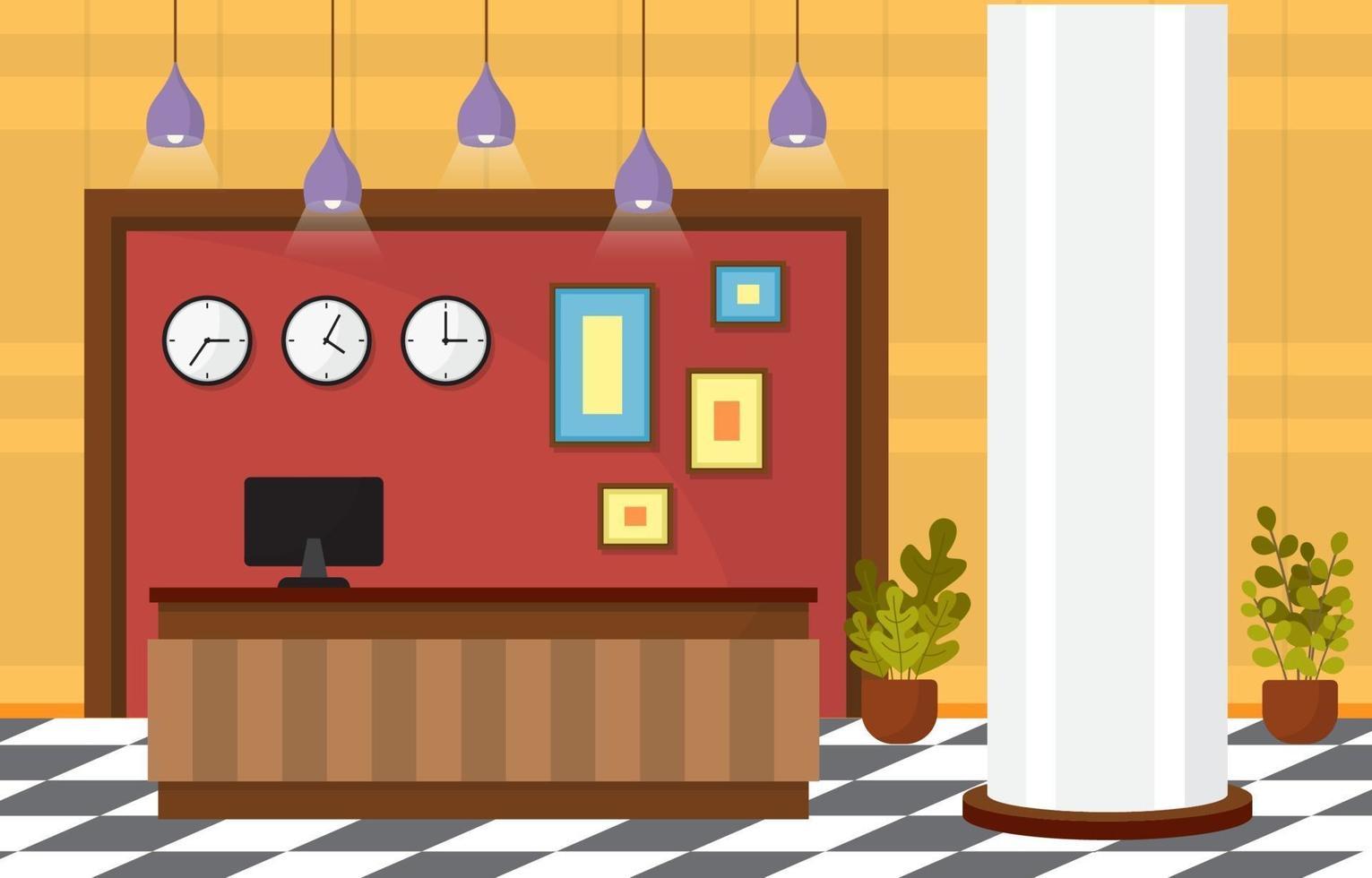 hall dell'hotel con reception e illustrazione di mobili vettore