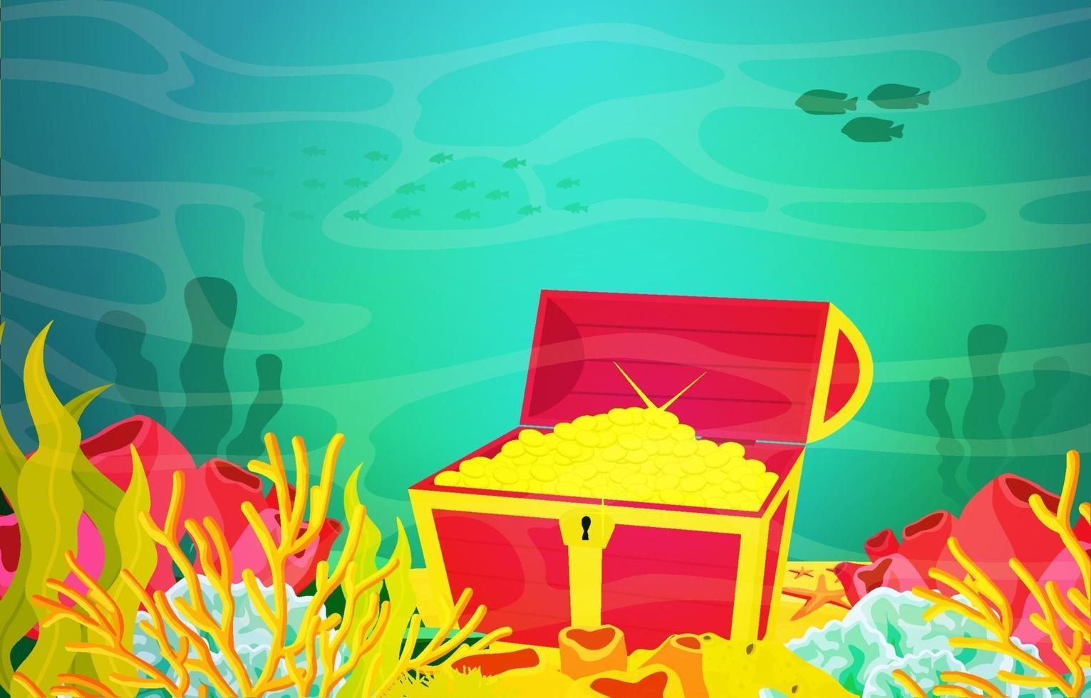 scena subacquea con scrigno del tesoro, ancora e illustrazione della barriera corallina vettore