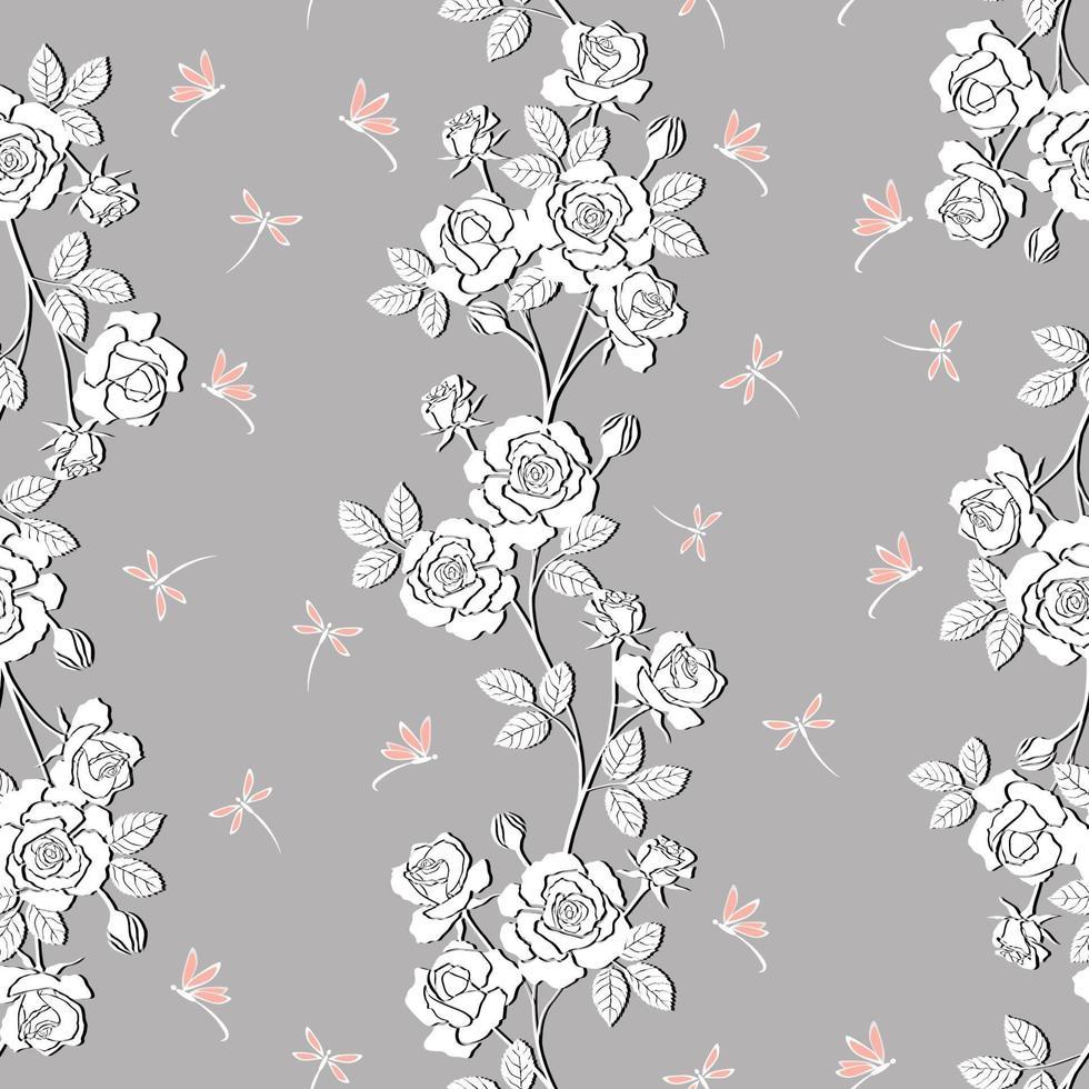 giardino fiorito di rose bianche con reticolo senza giunte della libellula vettore