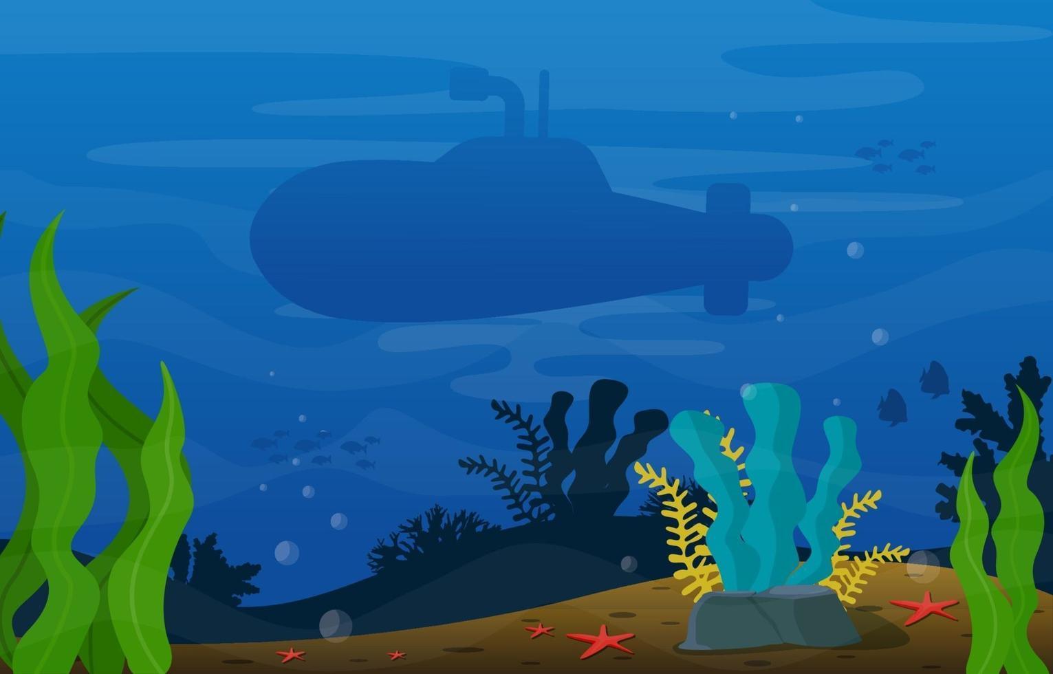 scena subacquea con illustrazione di sottomarino, pesce e barriera corallina vettore