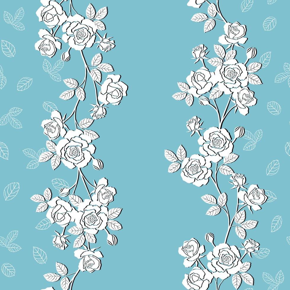 Modello senza cuciture di rose da giardino in fiore bianco su sfondo blu morbido vettore