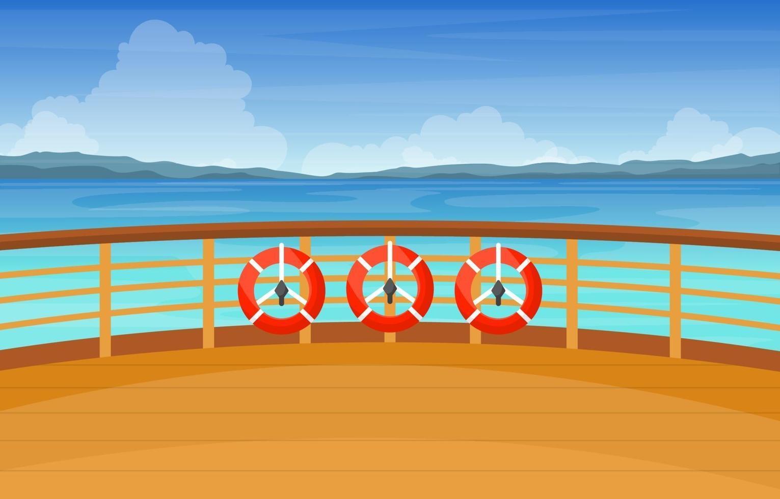 ponte della nave da crociera con salvagente e paesaggio oceanico vettore