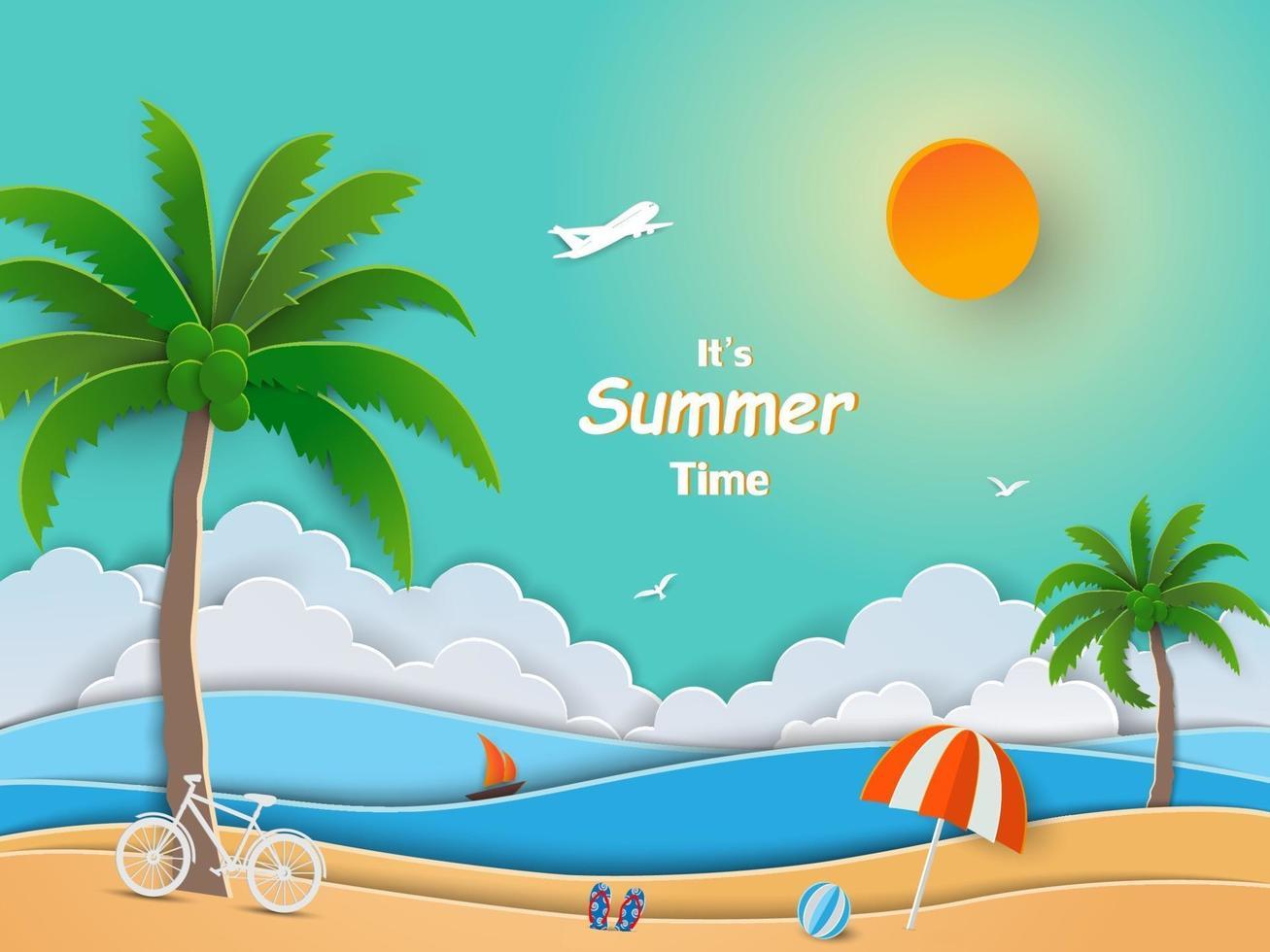 vista del mare blu nel concetto di estate, design di arte di carta con spiaggia, albero di cocco e ombrellone vettore