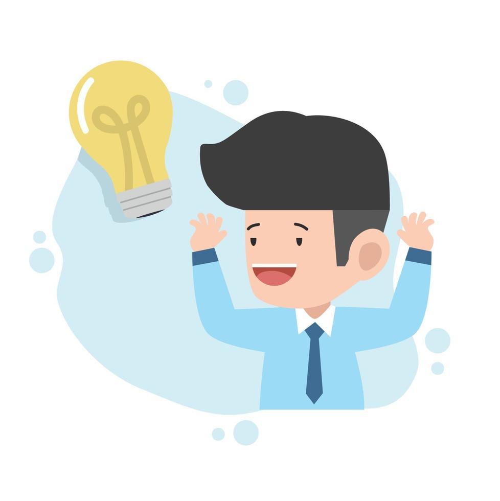 uomo d'affari con idea lampadina vettore