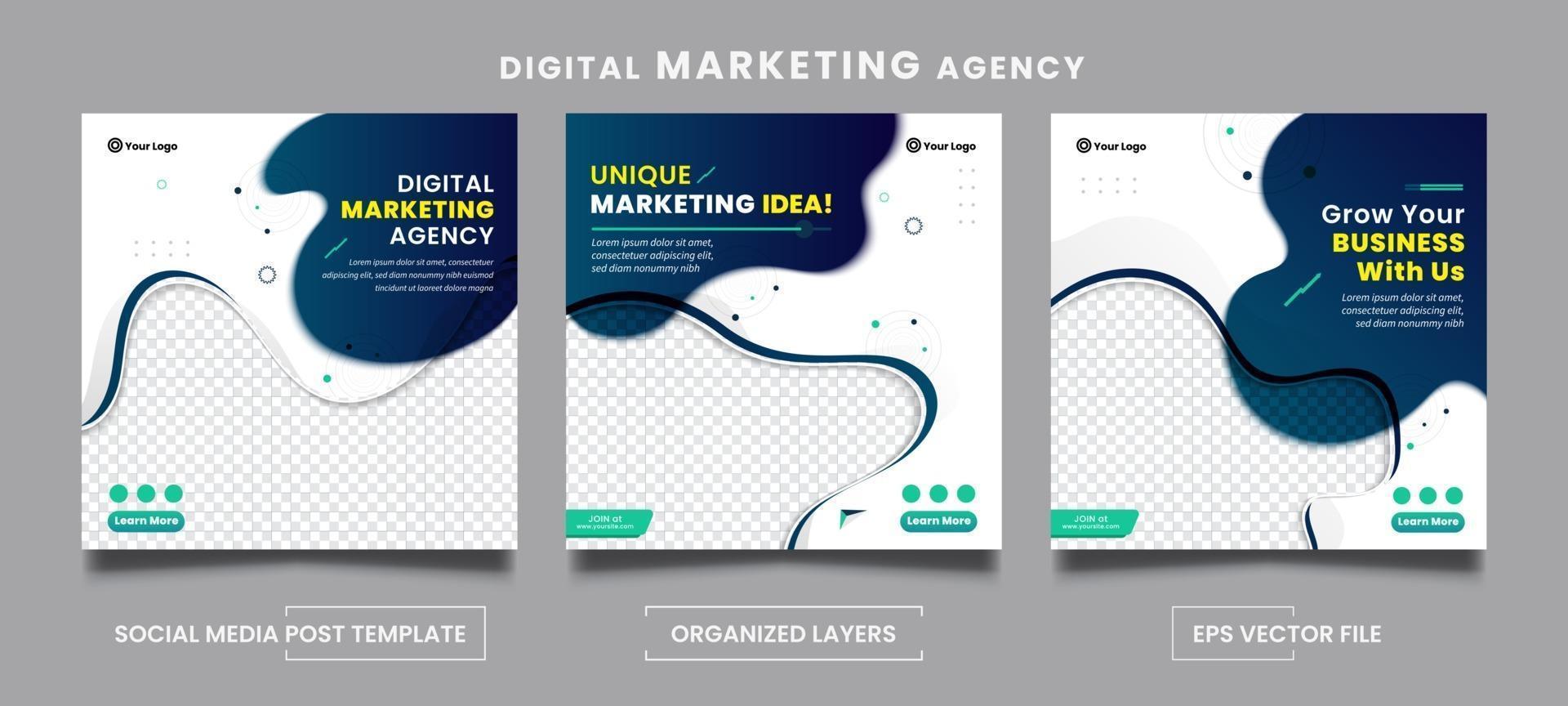 set di modelli di post sui social media di un'agenzia di marketing digitale astratto vettore