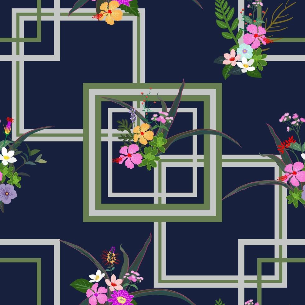 fiori tropicali colorati e foglie seamless pattern su sfondo geometrico vettore