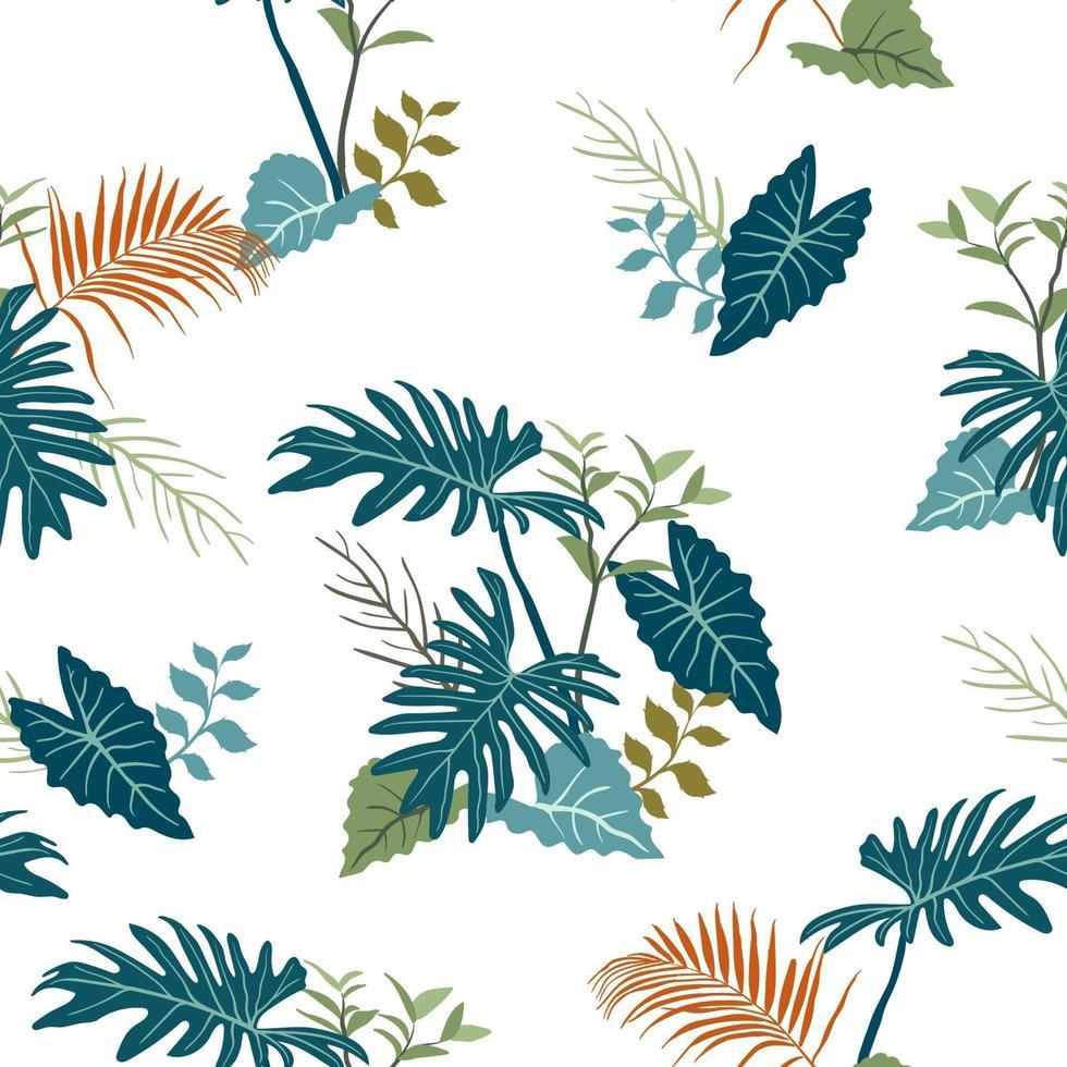 foglie di giardino tropicale sul modello senza cuciture di colore blu monotono vettore
