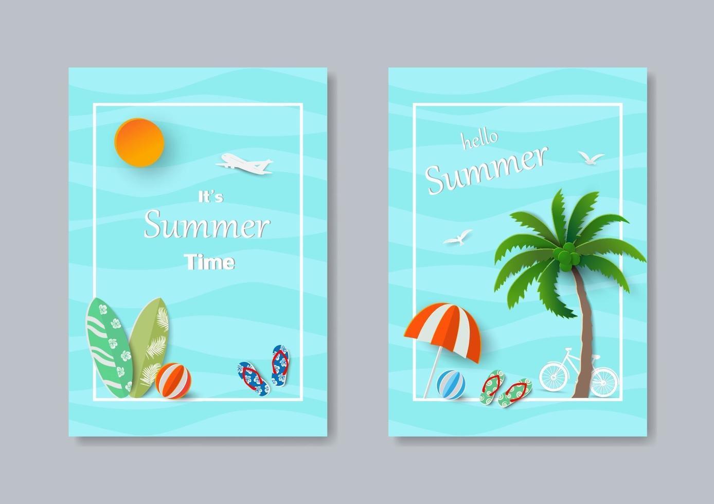 set di concetto di arte di carta banner modello estivo vettore