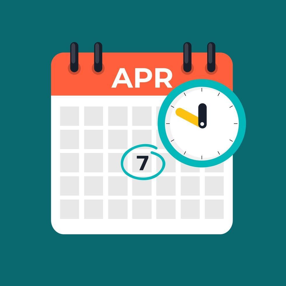 7 aprile calendario icona quotidiana. giornata mondiale della salute. vettore