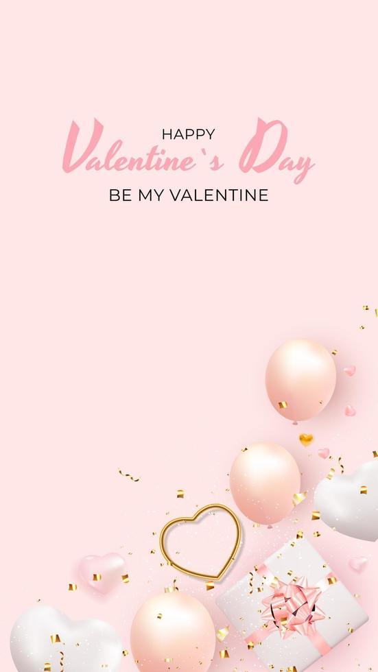San Valentino banner verticale con palloncino realistico 3d e confezione regalo vettore