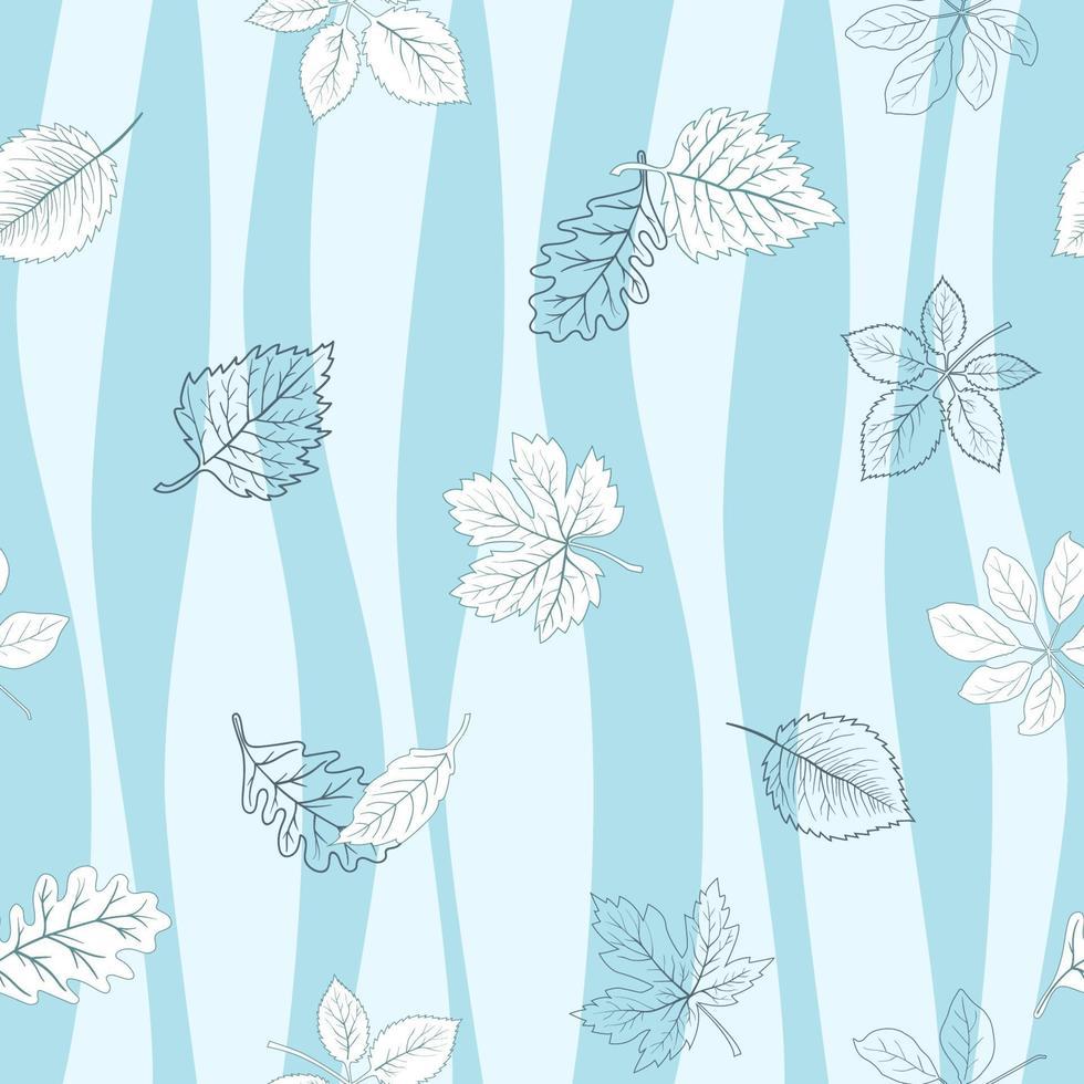 modello senza cuciture delle foglie di autunno su fondo ondulato blu vettore