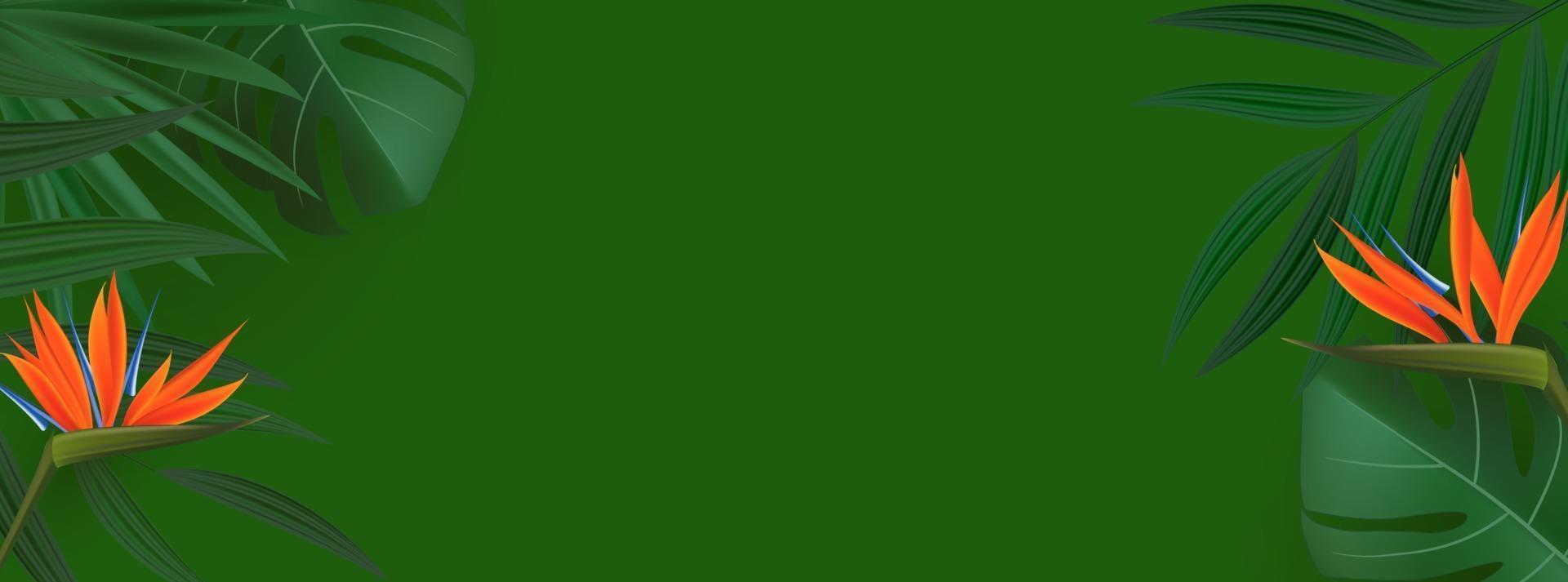 foglie di palma tropicale verde realistico naturale con sfondo di fiori di strelitzia vettore