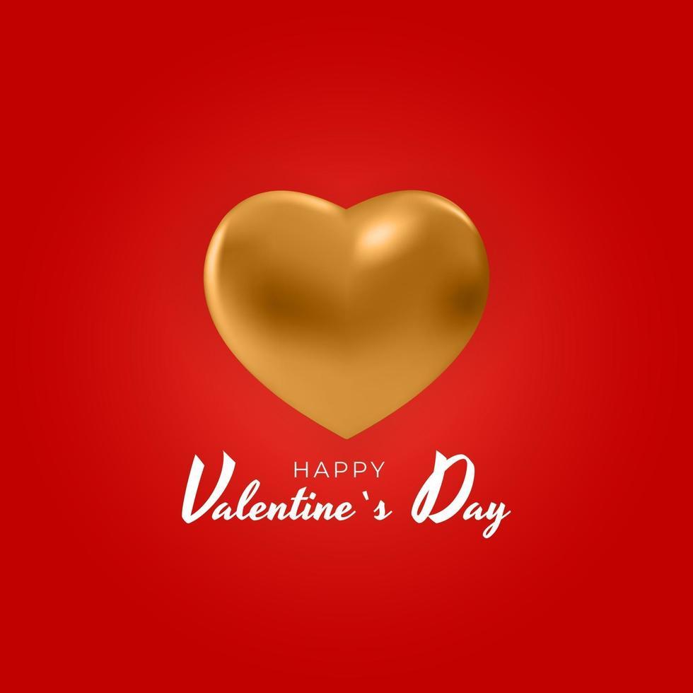 design di San Valentino con cuore d'oro vettore