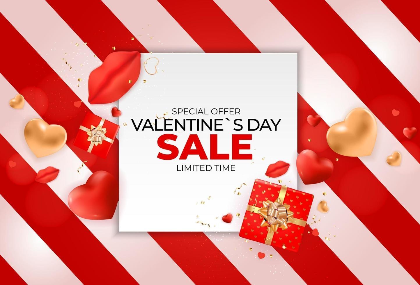 design di banner di vendita di san valentino vettore