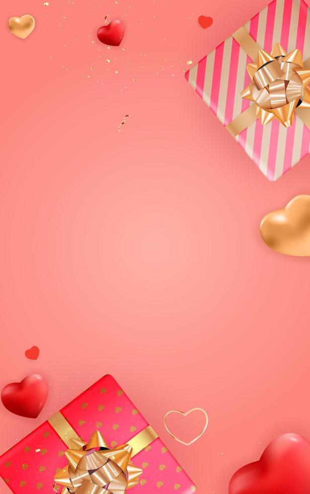 sfondo di San Valentino verticale con scatole regalo realistiche vettore