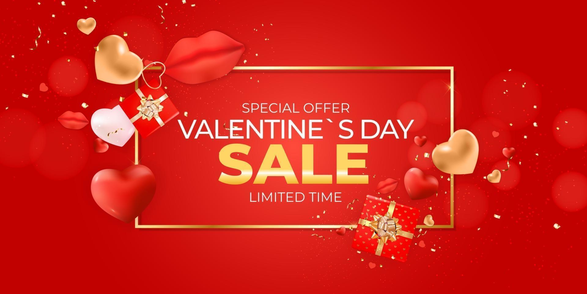 banner di vendita di san valentino con cornice dorata vettore