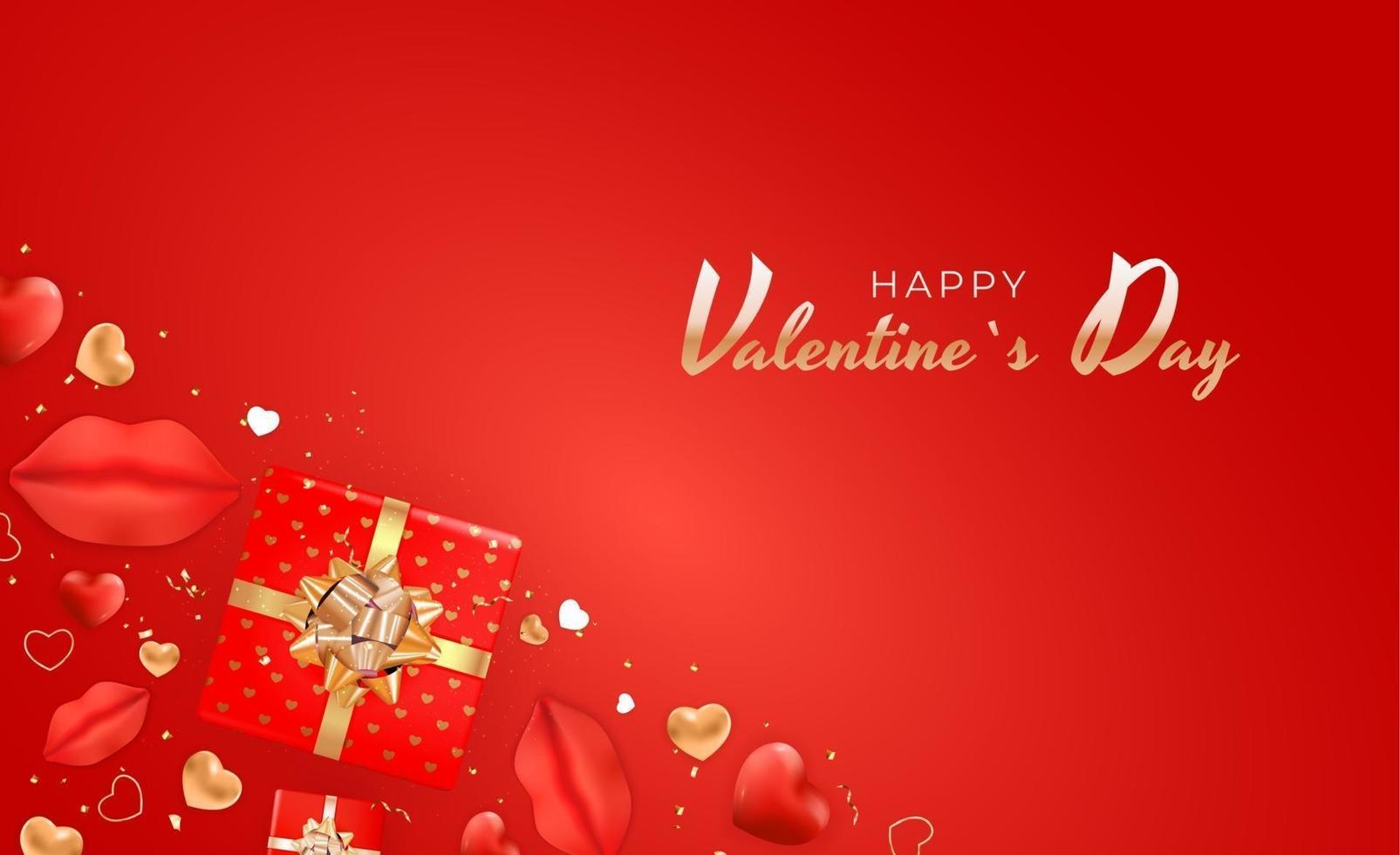 banner di San Valentino su sfondo rosso vettore