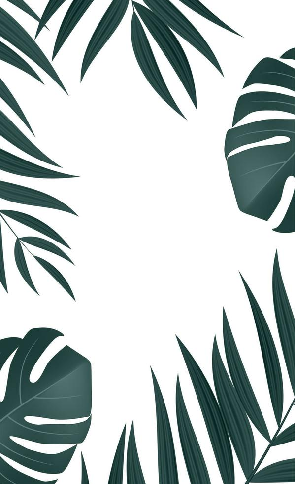 foglie di palma tropicali realistiche naturali su sfondo bianco vettore