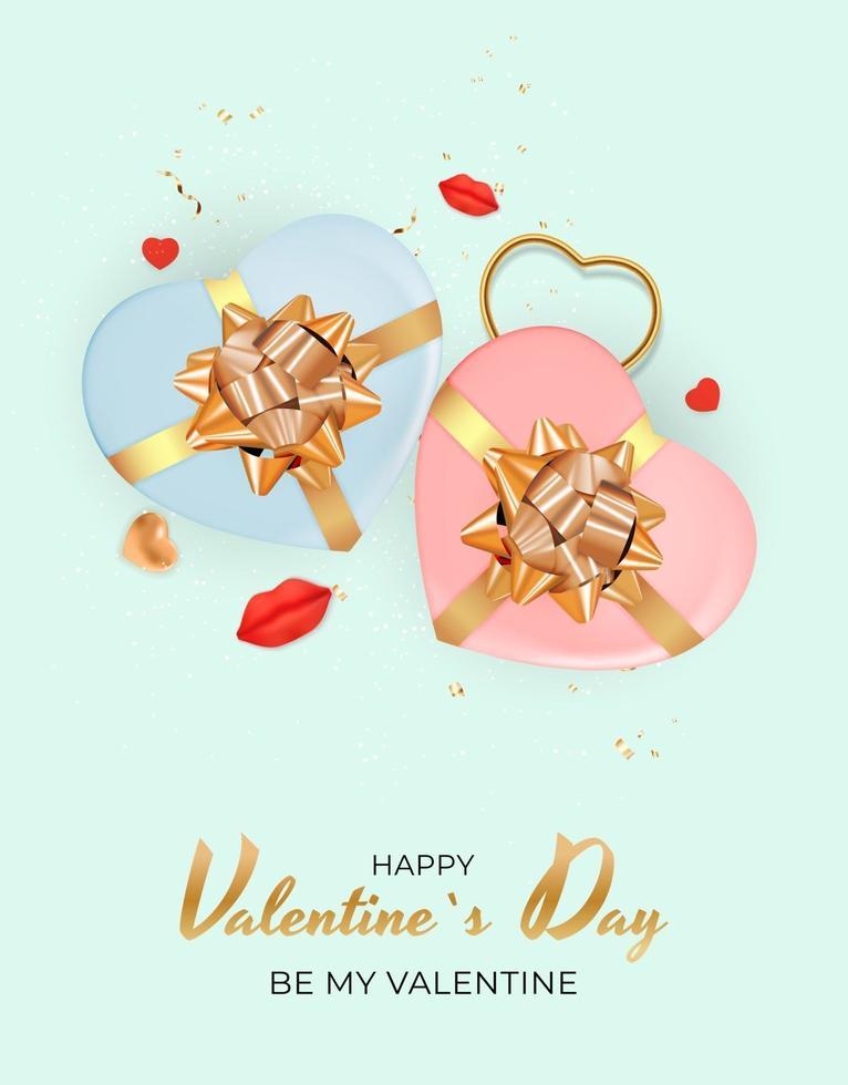 sfondo di San Valentino con due scatole regalo cuore realistiche vettore
