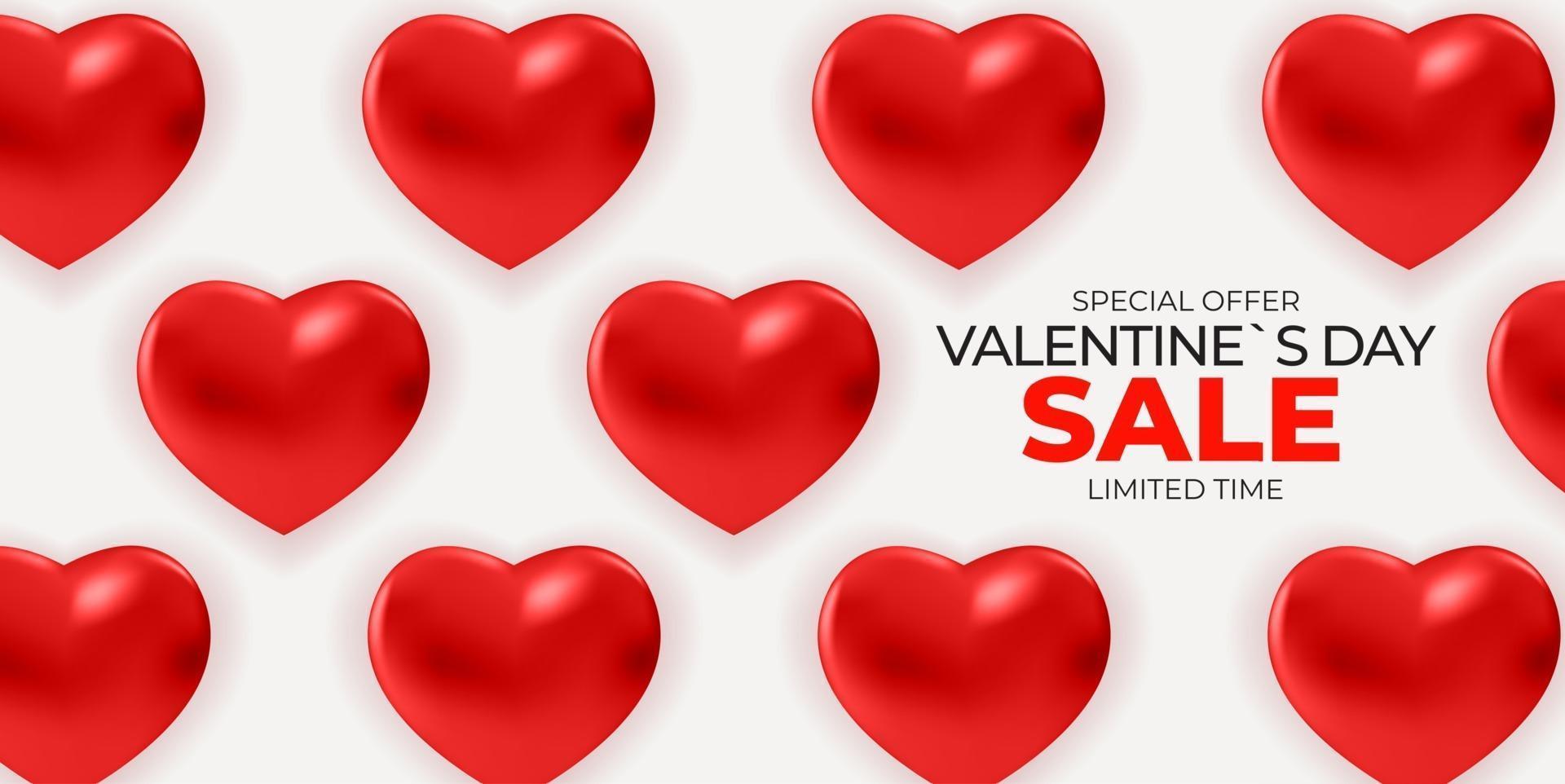 fondo della bandiera di vendita di San Valentino con cuori realistici vettore