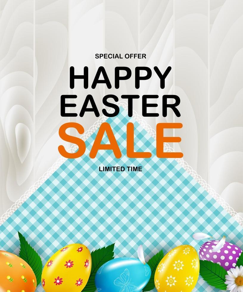 modello di poster di Pasqua con uova di Pasqua realistiche 3d. modello per pubblicità, poster, flyer, biglietto di auguri. vettore