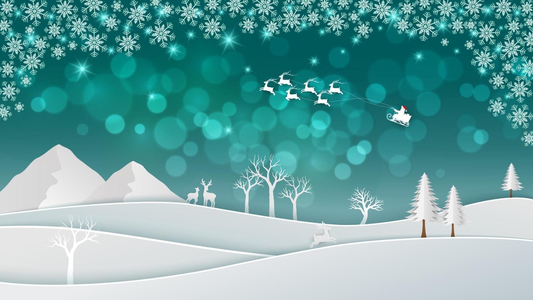 sfondo di natale con babbo natale nella notte invernale vettore