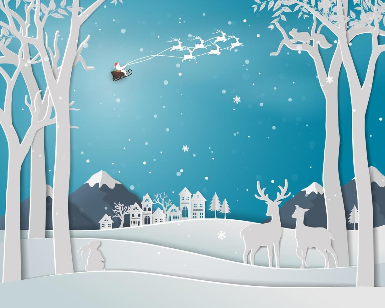 famiglia di cervi nella stagione invernale con il paesaggio urbano della città su sfondo di arte di carta per le vacanze di Natale e felice anno nuovo vettore