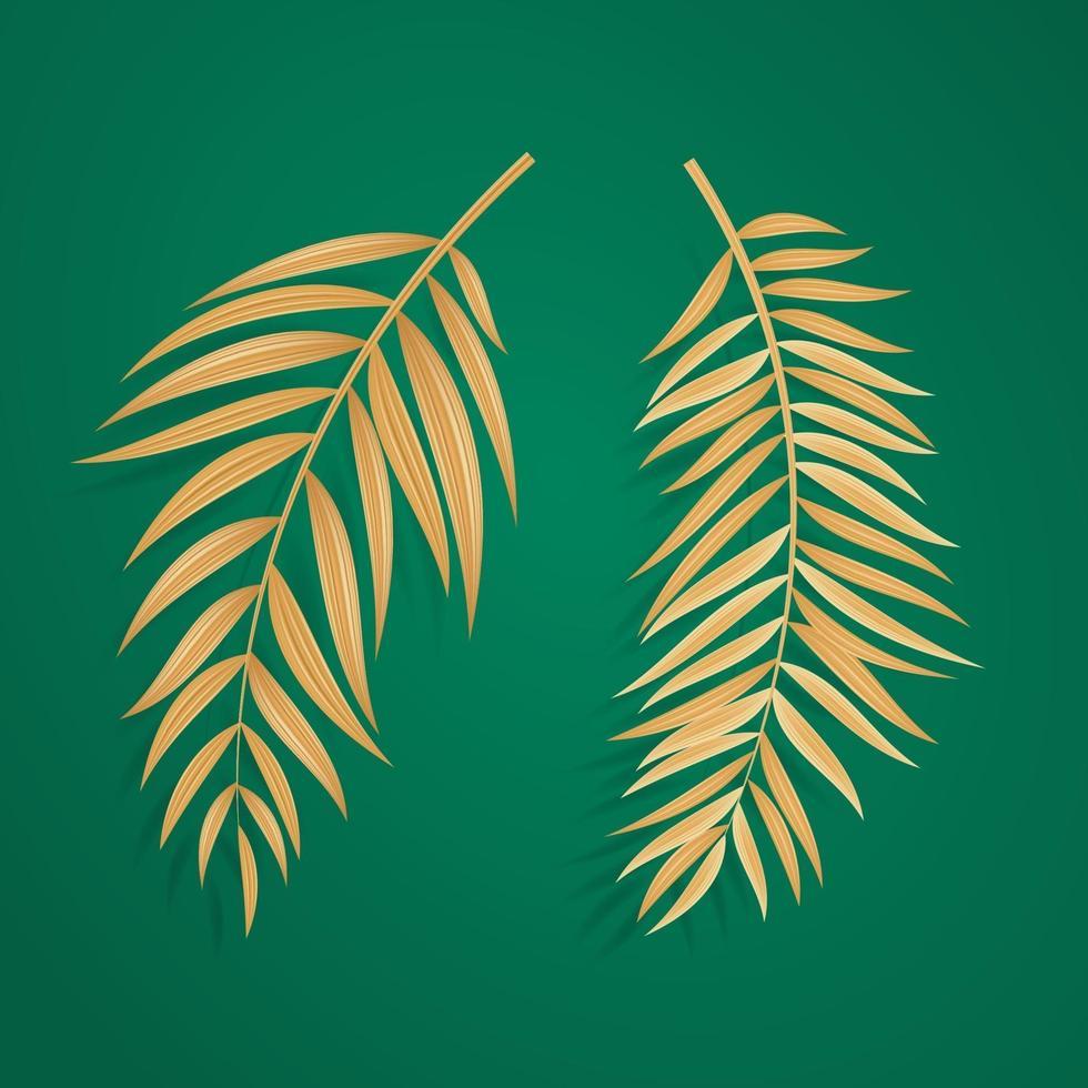 foglie di palma tropicali dorate realistiche astratte su sfondo verde vettore