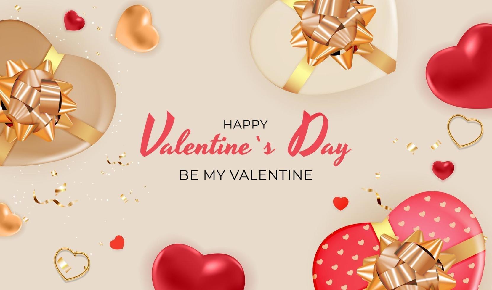 sfondo marrone di San Valentino con scatola regalo a forma di cuori vettore