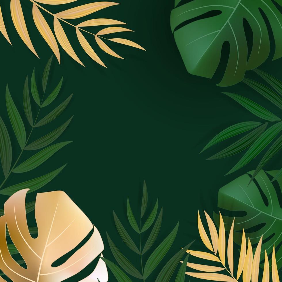 sfondo di foglie di palma tropicale verde e oro realistico naturale vettore