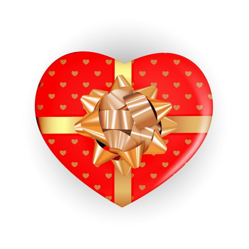 scatola a forma di cuore con fiocco e nastro. elemento di design realistico vettore