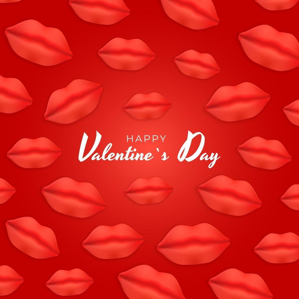 disegno di sfondo di San Valentino con labbra realistiche vettore