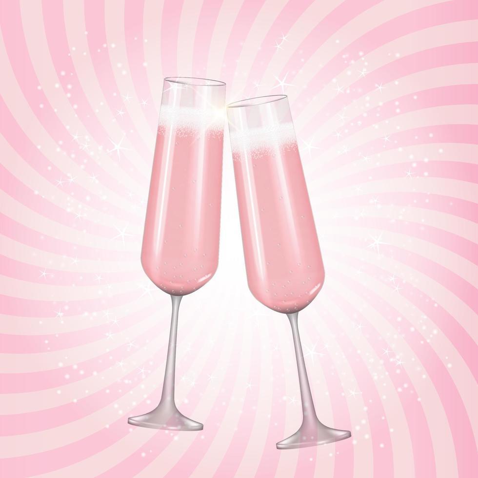 sfondo di bicchiere di champagne 3d realistico. illustrazione vettoriale