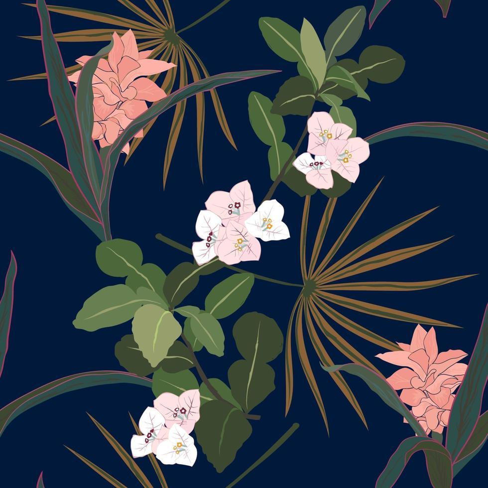 fiori e foglie tropicali sul modello senza cuciture scuro notte estiva vettore