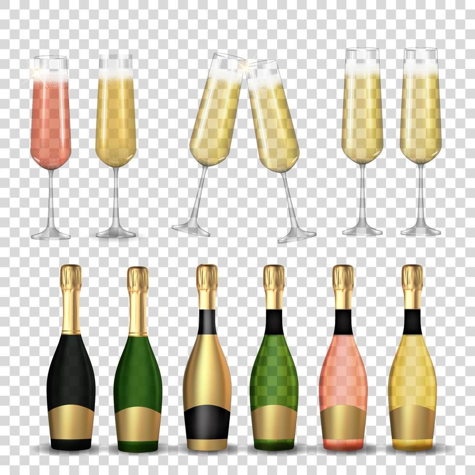 grande insieme di raccolta di champagne 3d realistico, bottiglia dorata, rosa e verde e vetro isolato. vettore