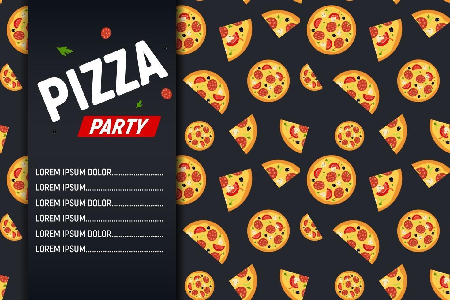 modello di sfondo del manifesto di pizza party flyer. illustrazione vettoriale. vettore