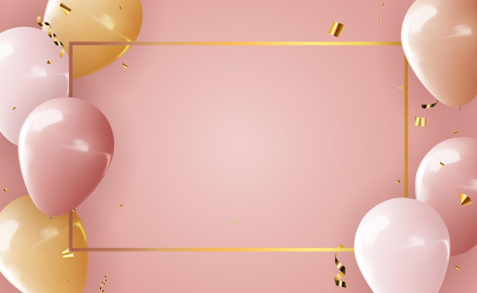 sfondo di palloncini 3d realistici per festa, vacanza, compleanno, carta di promozione, poster. illustrazione vettoriale