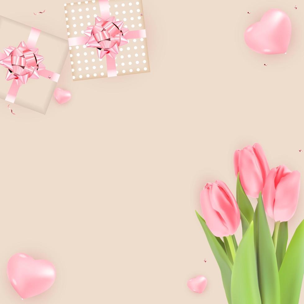 sfondo con tulipani e confezione regalo. modello per pubblicità, web, social media e annunci di moda. vettore