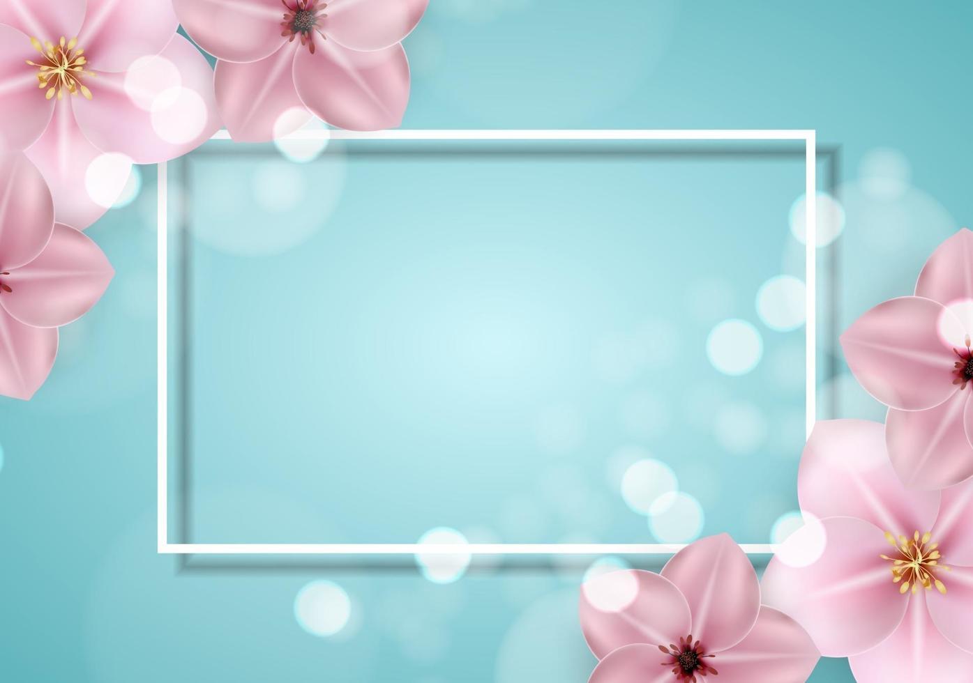 realistico bello sprind 3d e priorità bassa del fiore rosa di estate. illustrazione vettoriale