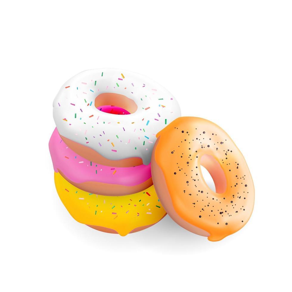 ciambelle dolci gustose realistiche 3d. illustrazione vettoriale