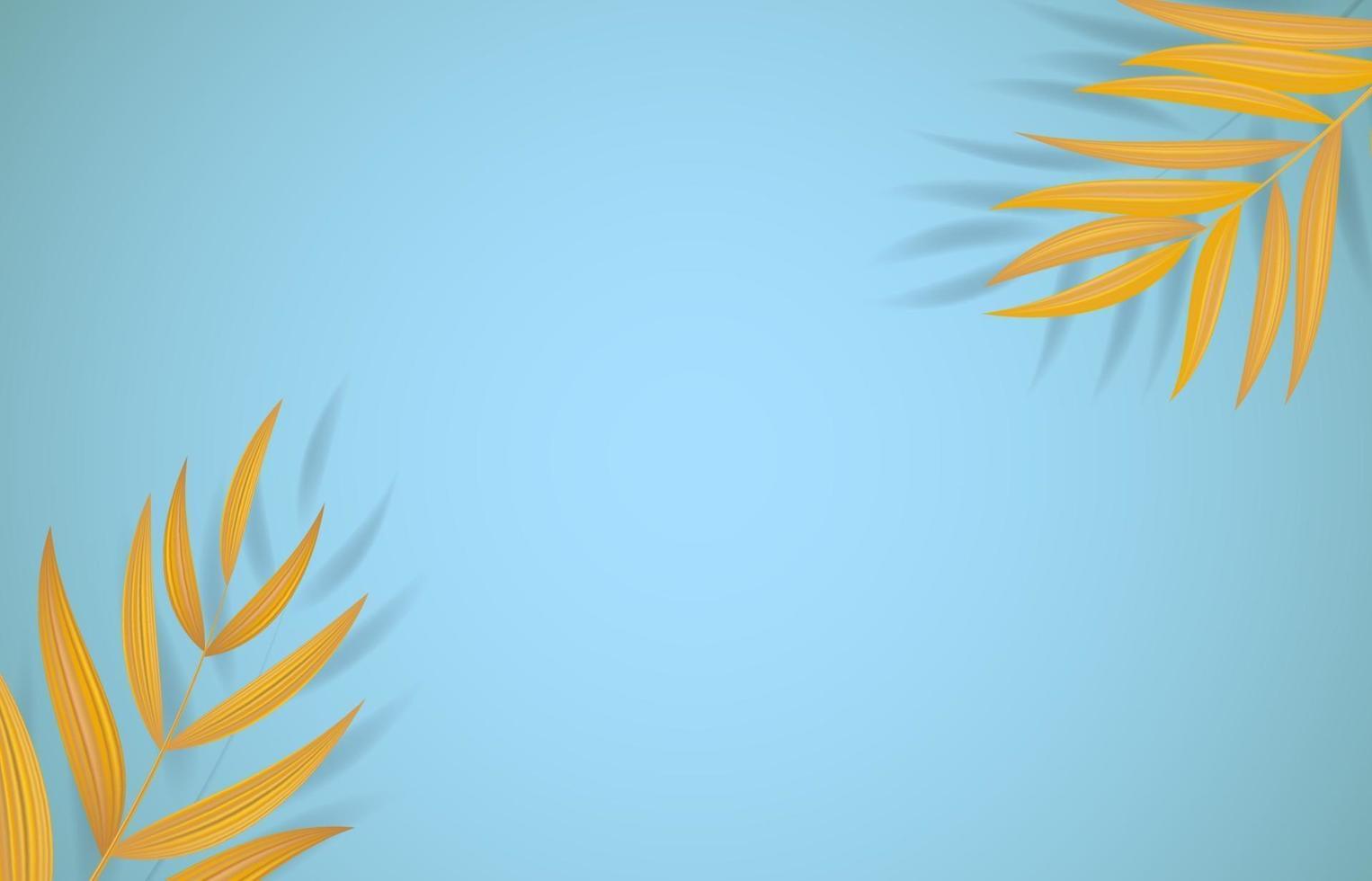 foglie di palma tropicali realistiche naturali. illustrazione vettoriale con copia spazio