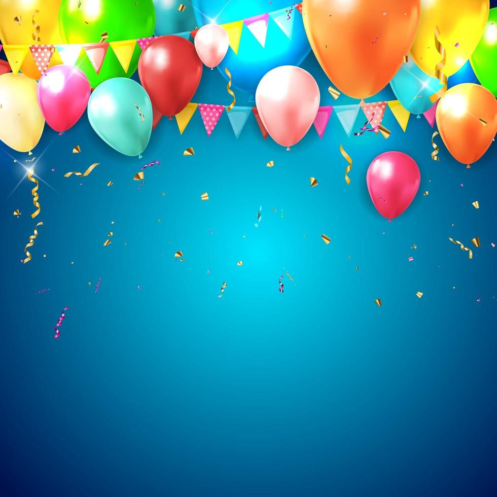 sfondo realistico palloncino 3d per la festa con bankground sfumato blu vettore