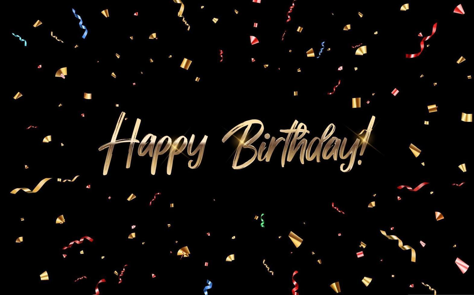 buon compleanno congratulazioni banner design con coriandoli e nastro glitterato lucido per sfondo vacanza festa. illustrazione vettoriale